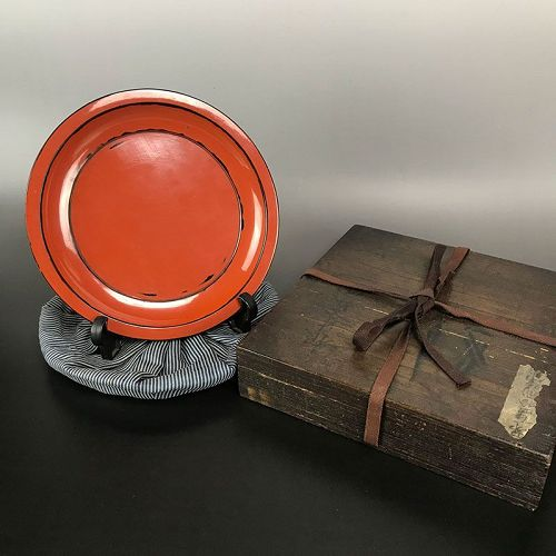 Edo period Negoro Lacquer Dish with box