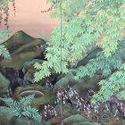 Kawamura Kokyo 2 Panel Silk Screen, Lavish Garden Scene