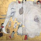 Edo P. Gold Screen, Children Playing with an Elephant