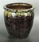 Antique Japanese Shodai Yaki Mingei Pottery Urn