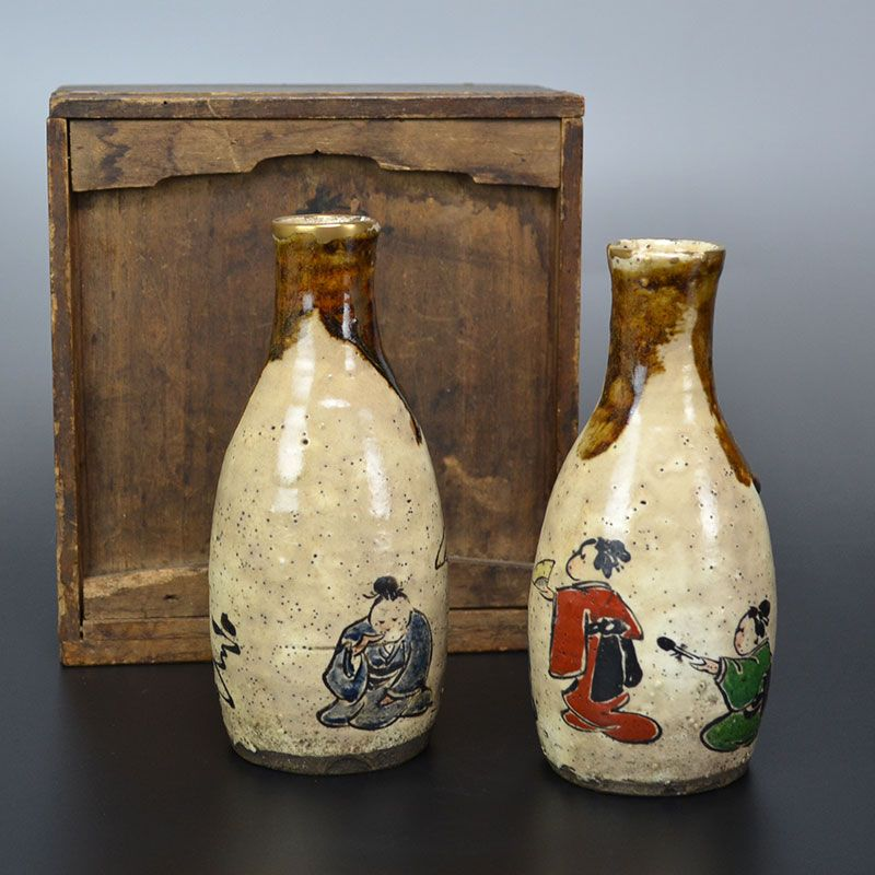 Kiyomizu Rokubei III Ceramic Tokkuri w/ Kintsugi gold repairs