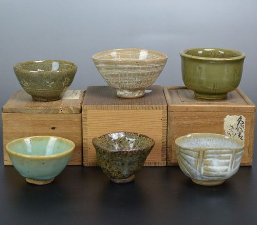 6 Sake Cups from Various Parts of Japan Edo to Meiji