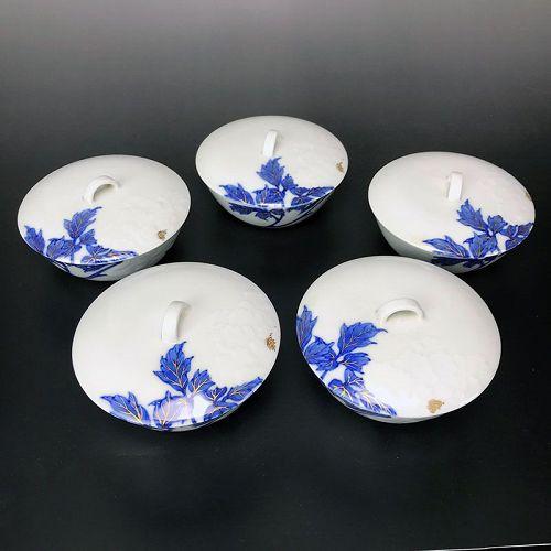 Exquisite 5 pc. Porcelain Bowl Set, Kiyomizu Rokubei IV