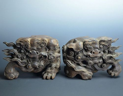 Antique Japanese Architectural Wood Carvings, Shishi Lions
