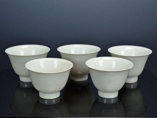 Haunting Ivory Porcelain Tea Cup Set by Kato Keizan I