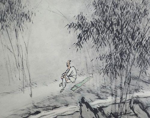 Scholar in moonlight, Ink Painting by Hijiya Bunkei