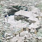 Amazing Antique Japanese Snow Covered garden Screen