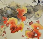 Antique Japanese Scroll by Hayashi Bunto, Song of Autumn