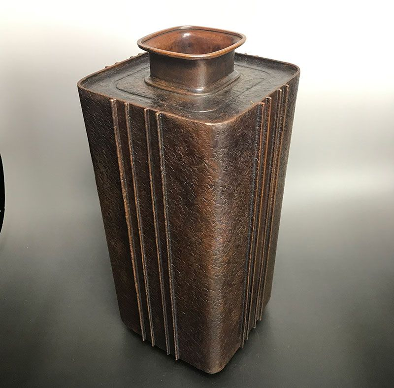 Hand Formed Modern Japanese Bronze Vase by Mitsui Asoo