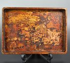 Antique Japanese Marble-Lacquered Wooden Tea Tray