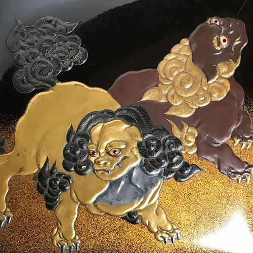 Antique Lacquer Writing Box with Mythical Shishi Lions