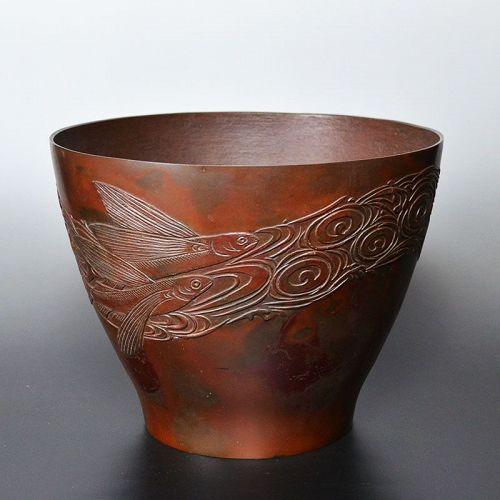 Bronze Vase with Flying Fish by Honma Takusai
