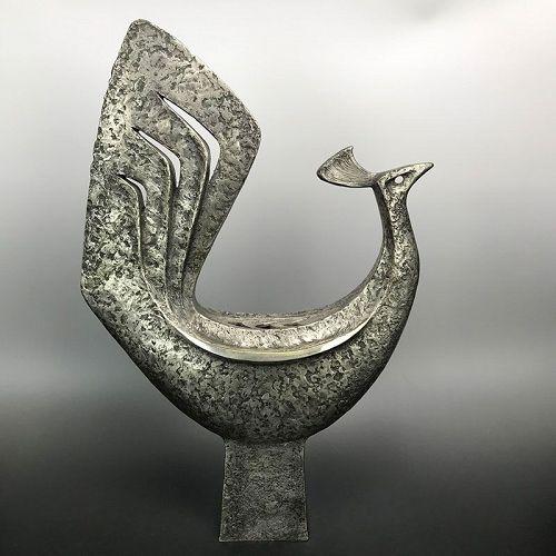 Nitten Exhibited Bronze Koro, Phoenix by Tsuda Eiju