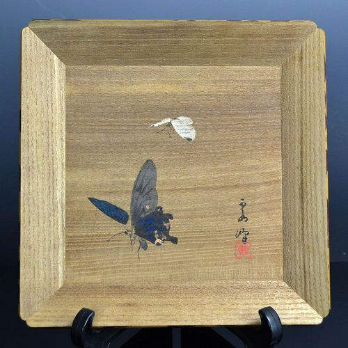 Hand painted Tea Tray by Kawakita Kaho, Butterflies