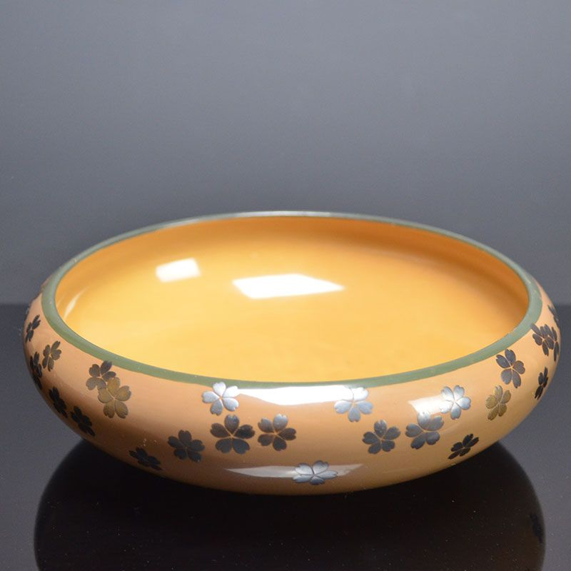 Antique Japanese Lacquered Pottery Dish w/ Silver Plum Blossoms