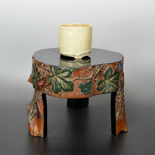 Lacquered Stand by Chokushinsai, Squirrel & Grapes