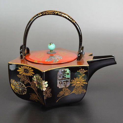 Meiji period Japanese Lacquered Choshi Sake Kettle