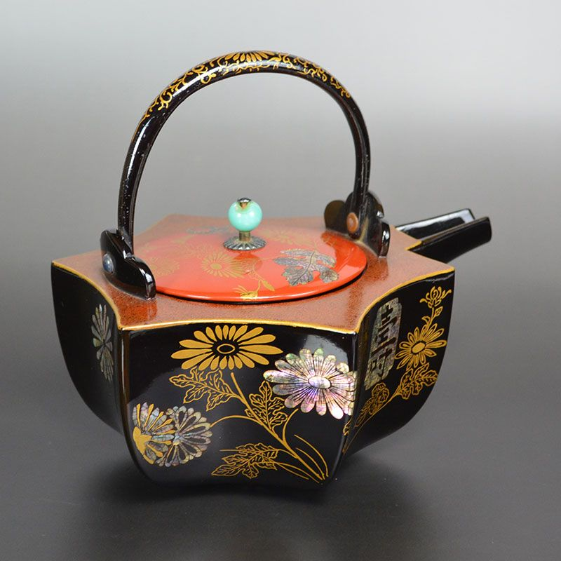 Meiji period Japanese Lacquered Choshi Sake Kettle