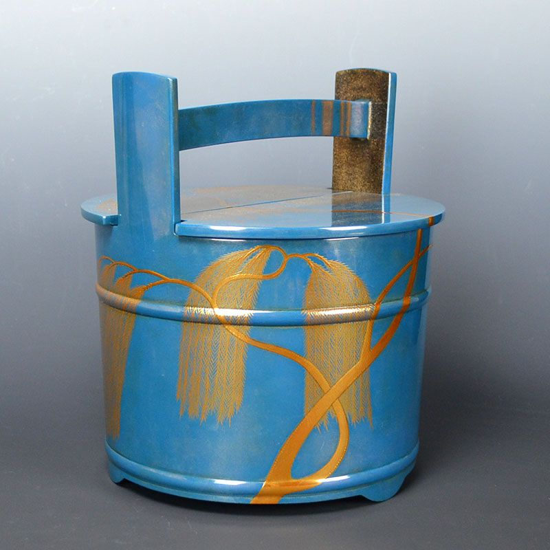 Blue-Silver Lacquered Mizusashi by Tonami Sosai II