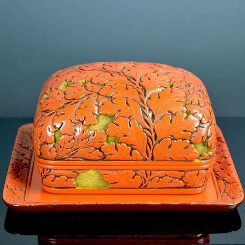 Antique Japanese Carved Lacquer Box, 1932