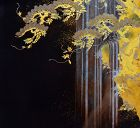 Exquisite Japanese Lacquer Box, Waterfall & Wysteria