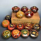 Important Edo p. Yanagisawa Daimyo Lacquer Bowl Set