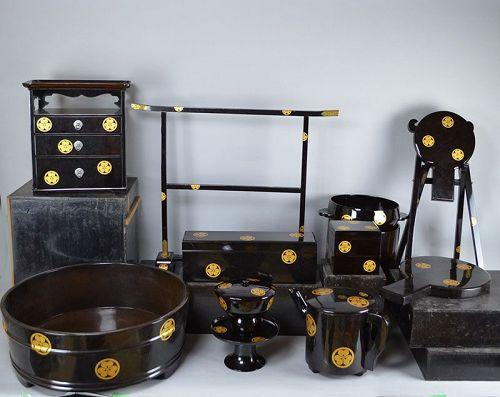Rare Genuine Edo p. Lacquer Marriage Furnishing Set