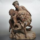 Antique Japanese Architectural Carving, Mounted Warrior