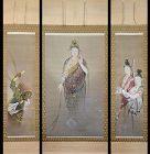 Meiji p. Buddhist Triptych, Kannon by Takahashi Koko