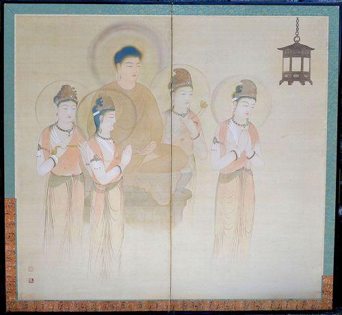 Antique Japanese Buddhist Screen Set, Visitation of Amida