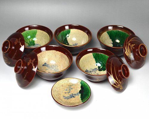 Set 5 Meiji p. Toyoraku Oribe Style Lacquered Ceramic Bowls