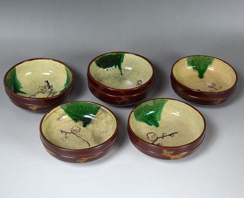 Antique Toyoraku Lacquered Pottery Bowl Set