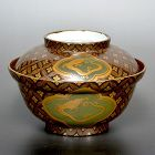 Antique Toyoraku Lacquered Pottery Bowl with Dragons