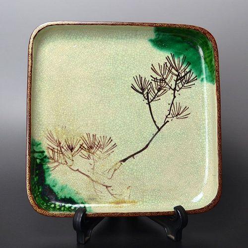 Antique Japanese Toyoraku Lacquered Ceramic Tray