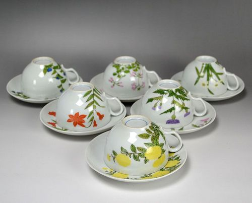 Rare Seifu Yohei III Porcelain Tea Cup Set