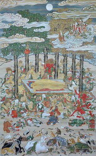 18th c. Nehanzu, Mid Edo p. Painting, Death of the Buddha
