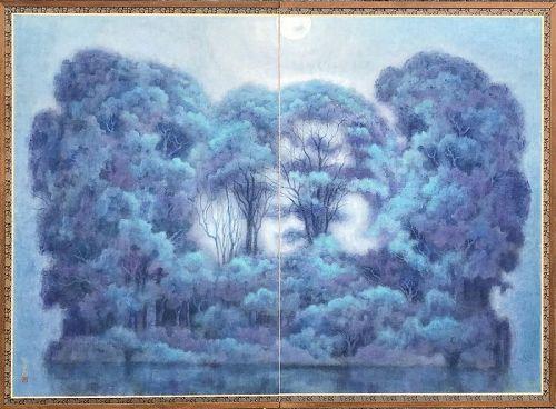 Moonlight, a 2 Panel Screen by Arai Fumio, Nitten Exhibited