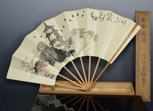 Hand Painted Sensu Folding Fan by Tomita Keisen