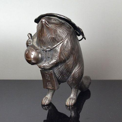Antique Japanese Bronze Tanuki Okimono