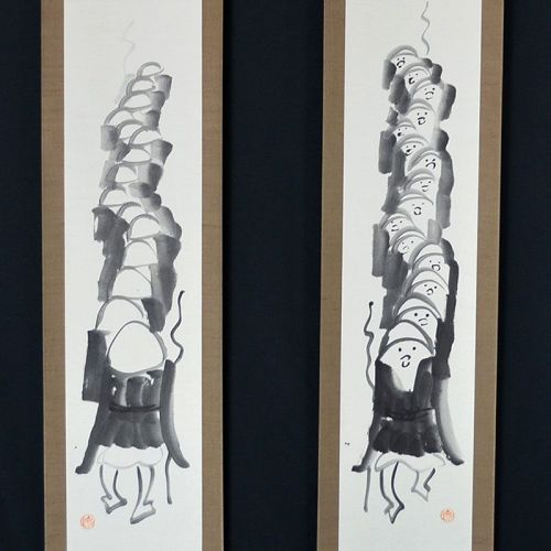 Antique Japanese Zenga Scroll Set by Kutsu Deiryu