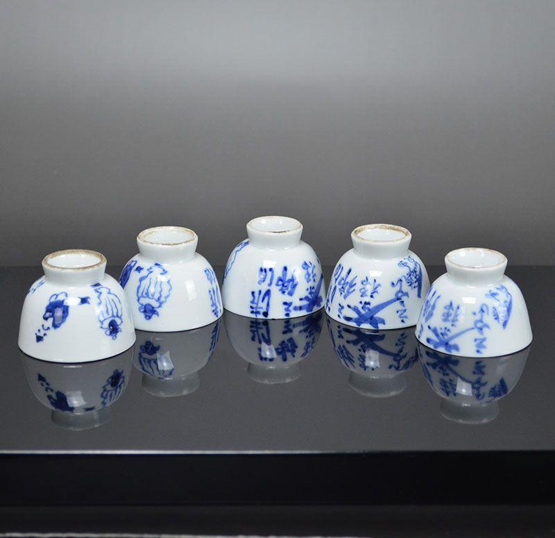 Five Antique Porcelain Sencha Tea Cups Dohachi & Tessai