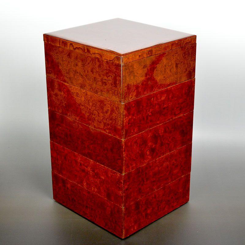 Antique Japanese Burled Zelkova Wood Stacking Box