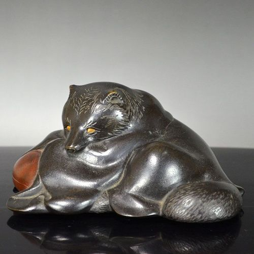 Sleepy Tanuki Priest Bronze Okimono