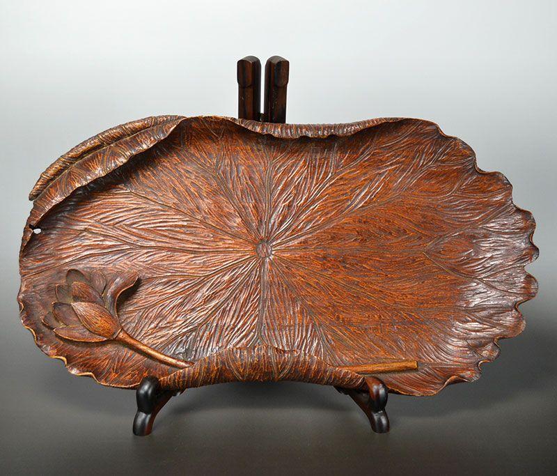 Antique, Japanese Carved Lotus Leaf Habon Tea Tray, Risho