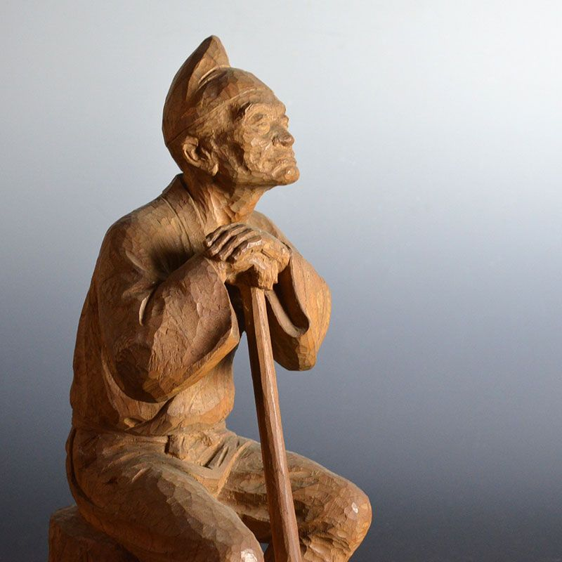 Antique Japanese Carving of a Wood Cutter