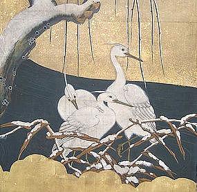 MAGNIFICENT 18th C. Japanese KANO SCREEN, EDO