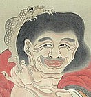 EDO p. Japanese RELIGIOUS SCROLL SET, SENNIN