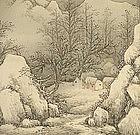 SUPERB SCROLL, VILLAGE ON SNOWY NIGHT, UNREI
