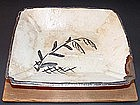 CRESCENT MOON 19th c Japanese SHINO-YAKI DISH