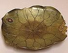 Unusual Antique Japanese Brass Lotus Dish
